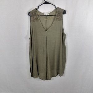 Olive Green Tank w/ Floral Accents